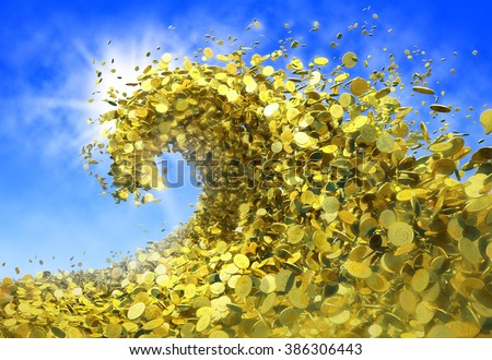 The wave of money. A huge tsunami wave of gold coins symbolizes success and good profits. The blue sky makes high contrast and the sun creates great mood - stock photo