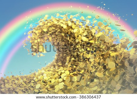 The wave of money. A huge tsunami wave of gold coins symbolizes success and good profits. The light sky and bright rainbow create great mood. - stock photo