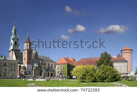 The Wawel Castle courtyard in Cracow, Poland, UNESCO World Heritage Site - stock photo