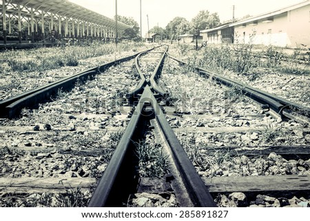 The way forward railway in vintage filter - stock photo