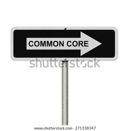 The way to Common Core, Black and white street sign with word Common Core isolated on white - stock photo