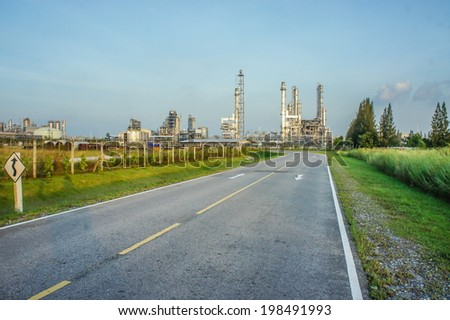 The way to Oil refinery, oil refinery - stock photo