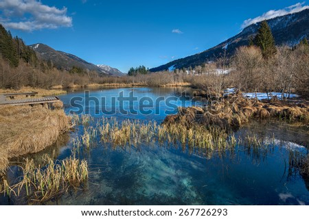 The well of river Sava in Julian Alps - stock photo