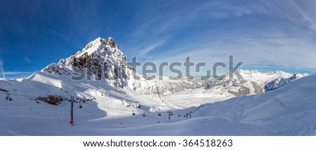 The Wendenstoecke in Switzerland are a multi-summited mountain of the Uri Alps, overlooking Gadmen in the canton of Bern. Westward view from Jochstock. - stock photo