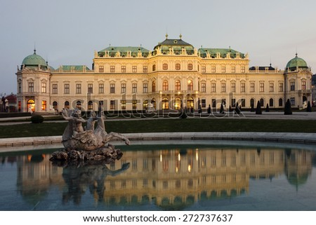 The west side of the baroque palace Upper Belvedere in Vienna, Austria, built as a summer residence for Prince Eugene of Savoy in 1717-1723. - stock photo