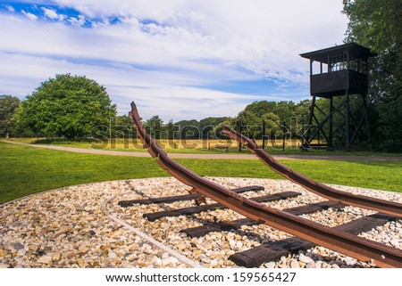 The Westerbork transit camp (Dutch: Kamp Westerbork, German: Durchgangslager Westerbork) was to assemble Roma and Dutch Jews for transport to other Nazi concentration camps. - stock photo