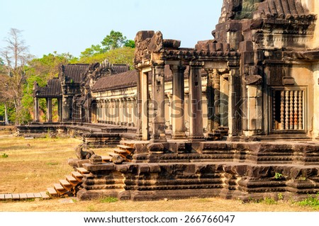 The western perimeter gallery of the temple complex Angkor Wat in Siem Reap, Cambodia - stock photo