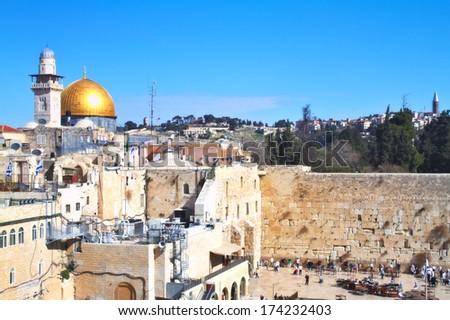 The Western Wall,Temple Mount, Jerusalem - stock photo