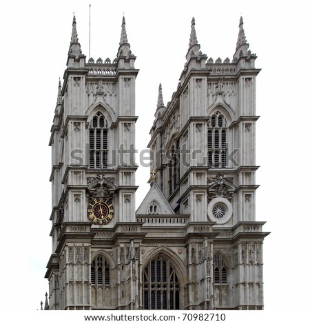 The Westminster Abbey church in London, UK - isolated over white background - rectilinear frontal view - stock photo