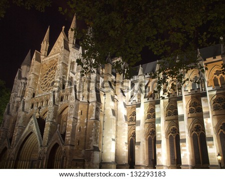 The Westminster Abbey church in London UK - night view - stock photo