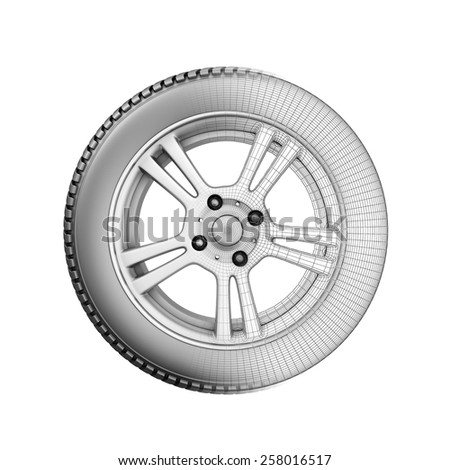 The wheel illustration passing into wire model. 3d illustration. - stock photo