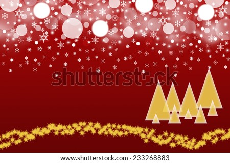 The white blurred balls and snowflakes on a red background. Balls and snowflakes are placed on the top of the picture. The gold silhouettes of trees are placed  in the bottom right of the picture.  - stock photo