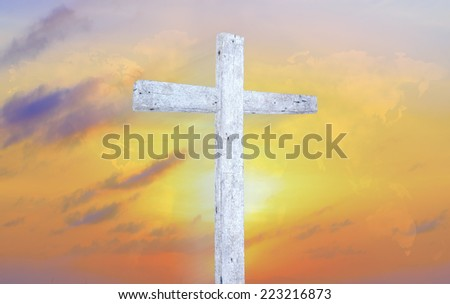 The white cross and dramatic sky on world of clouds background. Christmas, Thankful, Mercy, Humble, Repentance, Reconcile, Adoration, Glorify, Peace, Evangelical, Hallelujah, Amen concept - stock photo