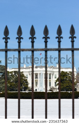 The White House and fences in Winter - Washington DC, United States of America - stock photo