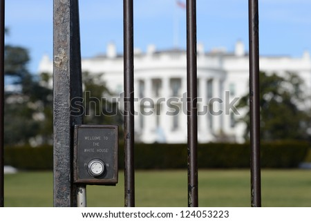 "The White House fence detail with ""Welcome to White House"" engraved on - Washington DC, United States - stock photo"