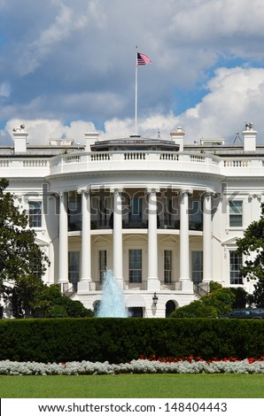 The White House in a dramatic cloudy summer day - stock photo
