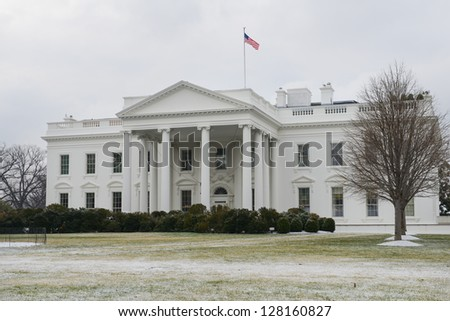The White House in a snowy winter day - Washington DC United States - stock photo