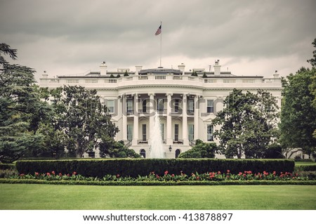 The White House in Washington D.C. at a cloudy day, Executive Office of the President of the United States, Vintage filtered style - stock photo