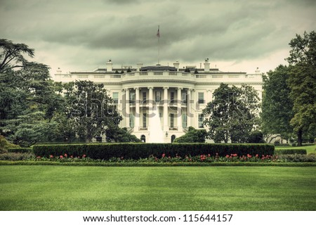 The White House in Washington D.C., Executive Office of the President of the United States, HDR, vintage style - stock photo