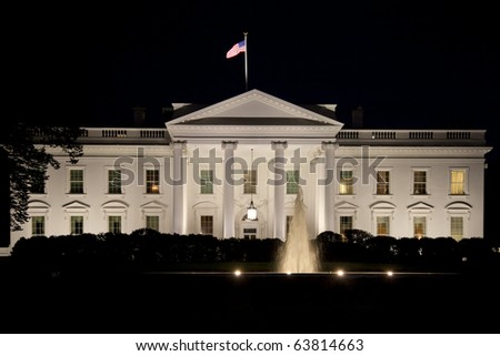 The White House in Washington D.C. in the nigh - stock photo