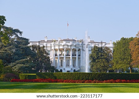 The White House in Washington DC. US President residence in the capital. - stock photo