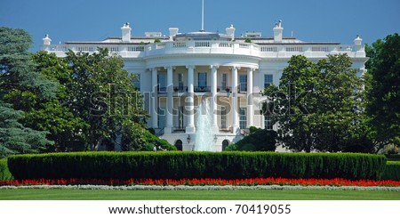 The White House in Washington DC with beautiful blue sky panorama - stock photo