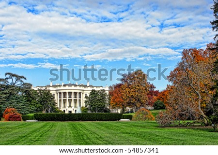 The White House south facade and lawn in Washington DC - stock photo
