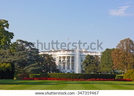 The White House, Washington DC, USA. The White House and beautifully maintained garden in early autumn. - stock photo