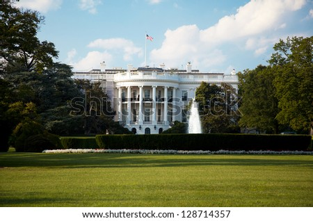 The White House with blue sky on a summer day - stock photo