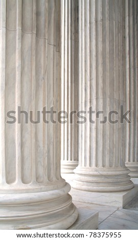 The white marble columns of the US Supreme Court - stock photo