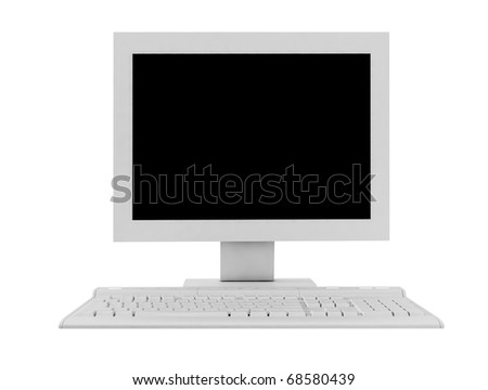 The white monitor and keyboard - stock photo
