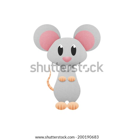 the white mouse, rat is cute cartoon illustration from animal of paper cut - stock photo