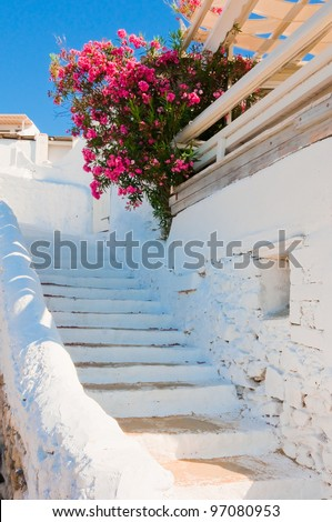 The white old staircase and flowers -  Greek islands - stock photo