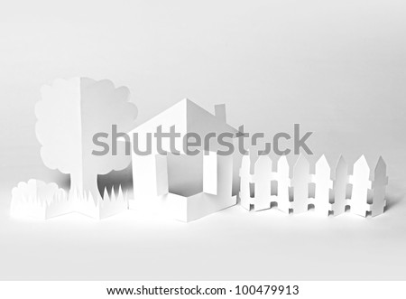 The white paper house and paper tree - stock photo
