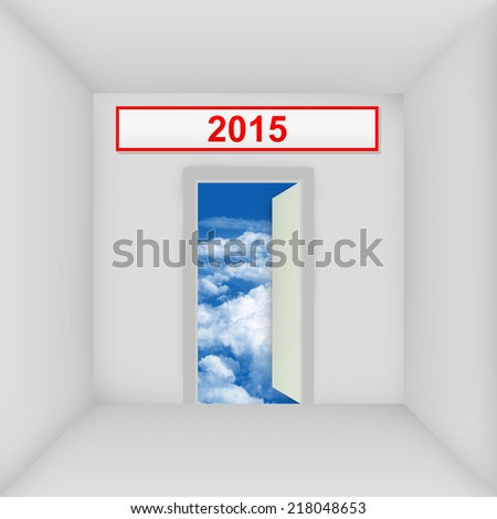 The White Room With 2015 Door Open to The Blue Sky - stock photo