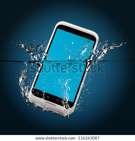 The white smartphone fallen in water. 3D-model. - stock photo