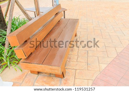 The white steel chair in a park. - stock photo