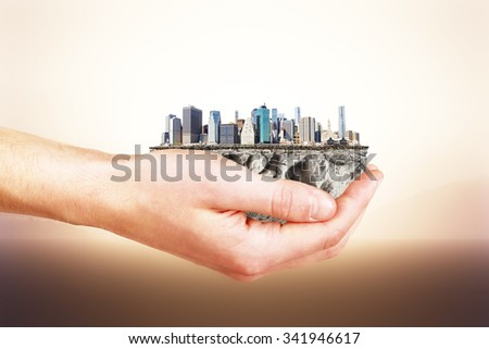The whole city in your hands concept  - stock photo