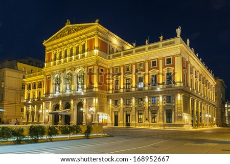 The Wiener Musikverein is a concert hall in the Innere Stadt borough of Vienna, Austria. It is the home to the Vienna Philharmonic orchestra. - stock photo