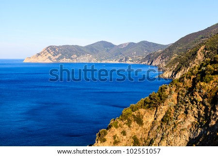 The Wild and Rocky Coast near Village of Corniglia in Cinque Terre, Italy - stock photo