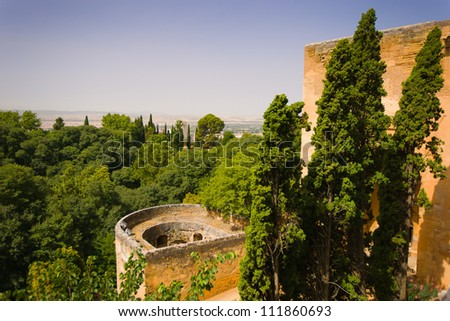 The Wine Gate (Puerta del Vino) is supposed to be one of the oldest constructions of the Alhambra, it could date from the period of Mohammed II. - stock photo