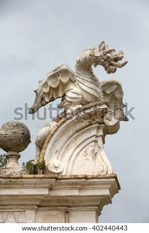The winged dragon of Villa Borghese, Rome - stock photo