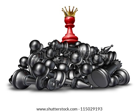 The winner and the victor success concept with a red chess pawn wearing a gold crown on top of a mountain of defeated competitors that are lying down against a white background. - stock photo