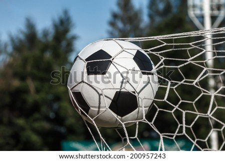 The winner in the football game - stock photo