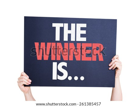 The Winner Is... card isolated on white - stock photo