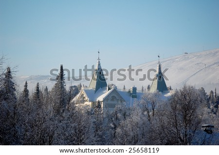The winter castle in northsweden, Gällivare. - stock photo