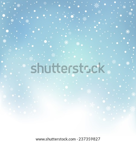 The winter day snowfall and blue mesh sky background - stock photo