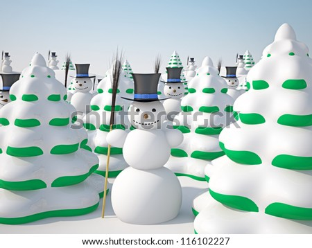 The winter landscape with trees and snowmans - stock photo