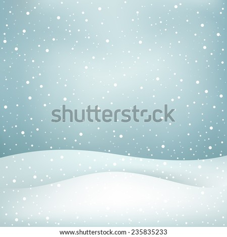 The winter snowfall, blue daytime sky and snowdrift Christmas background - stock photo