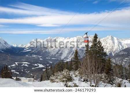 The winter top view of mountain valley in european Alps, Seefeld - stock photo